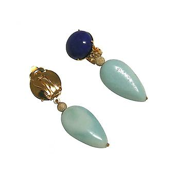 DROP - 4 cm clip earrings - gold plated - lapis lazuli - Amazonite - blue-
