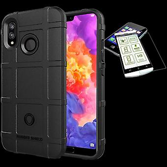 Apple iPhone X 10 5.8 / XS 5,8 2018 escudo caso TPU silicona negra + 0,26 mm 2,5 d H9 vidrio templado bolsa funda manga