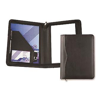David Van Hagen Houghton PU A5 Zipped Conference Pad Holder - Black