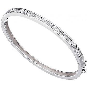 Beginnings Cubic Zirconia Square Channel Set Bangle - Silver/Clear