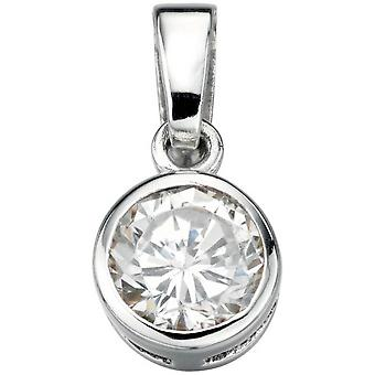 Beginnings Cubic Zirconia Plain Round Pendant - Silver/Clear