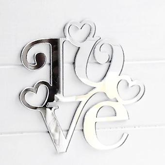 Square Love Text Word With Hearts Acrylic Mirror