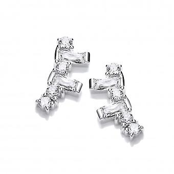 Cavendish French Silver and Cubic Zirconia Geo Climber Earrings