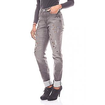 ARIZONA trendy destroyed jeans with studs trim long size black