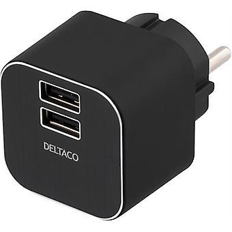 DELTACO parete caricabatterie 230 v a 5V USB, 3, 1A, 2xUSB porte