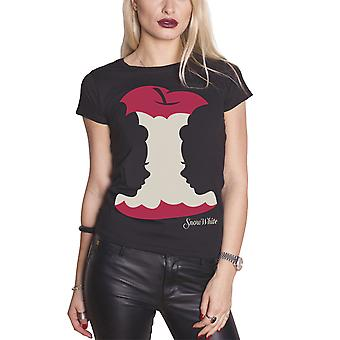 Official Snow White T Shirt Apple silhouette logo new Womens Black Skinny Fit