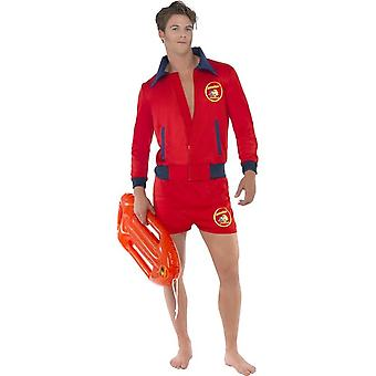Baywatch Lifeguard Costume, Red, with Top & Shorts