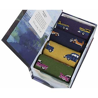 Vintage Car Gift Box by Thought | 4 pairs men's soft bamboo crew socks