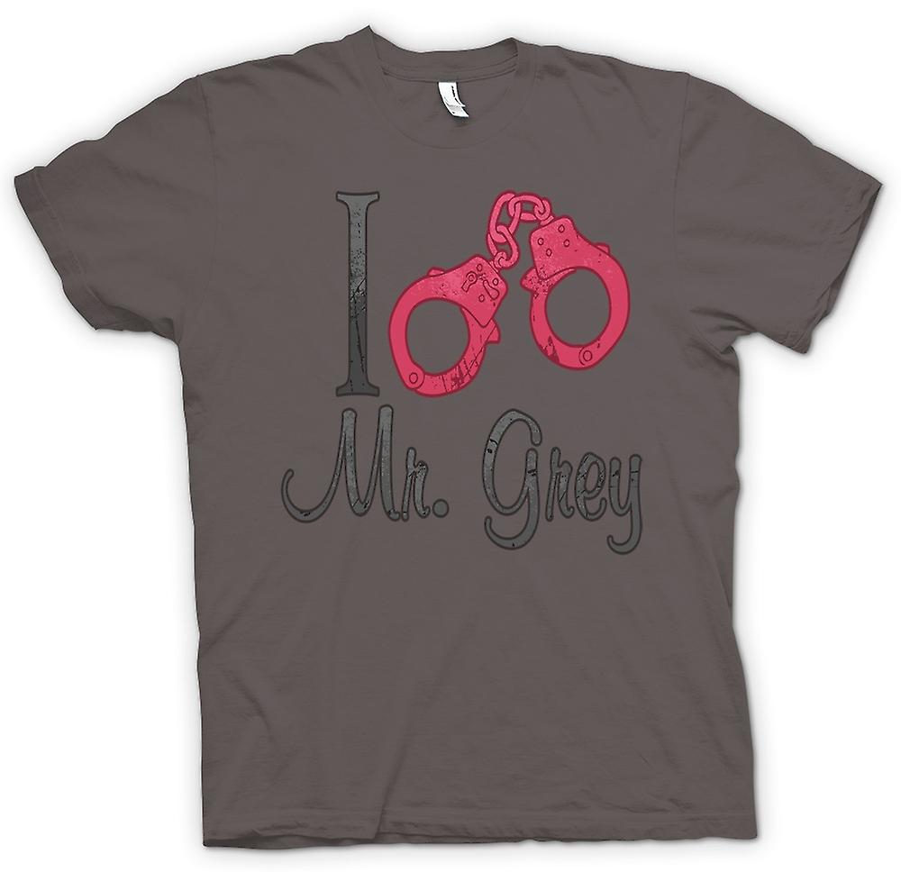 Womens T-shirt - I Love Mr Grey - Handcuffs