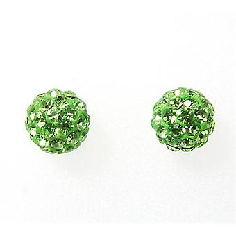 TOC Girls Sterling Silver Green Crystal Disco Ball Stud Earrings 6mm