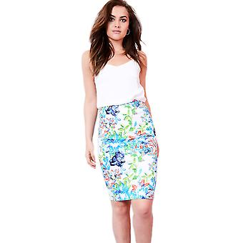 Lovemystyle High Waisted Pencil Skirt In Blue Floral Print