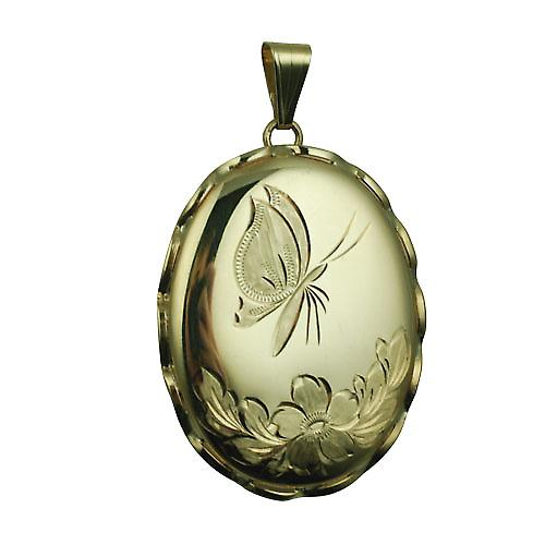 9ct Gold 37x28mm oval hand engraved butterfly fancy wire edge Locket