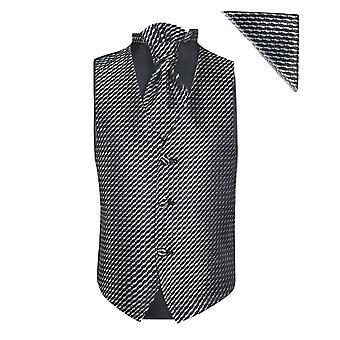Boys BLACK Waistcoat Cravat Hanky Set Prom Communion