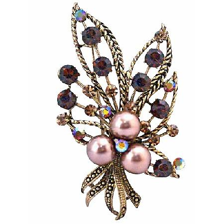 Smoked Topaz Crystals Swarovski Bronze Pearls Bouquet Dress Brooch