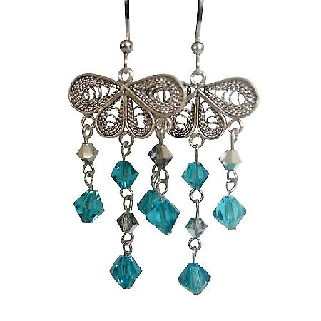 Chandelier w/ Blue Zircon Crystals Dangling Silver Earrings