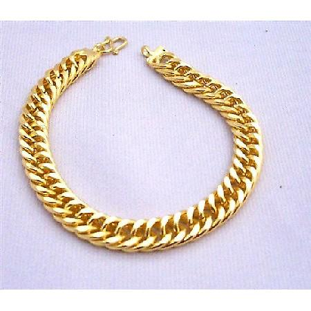 Thick Gold Woven Bracelet Good Quality Women Bracelet 7 1/2 inches