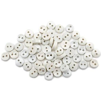 Dress It Up Embellishments-Tiny Round Buttons - White