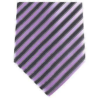Knightsbridge Neckwear rayure diagonale régulière Polyester cravate - noir/violet