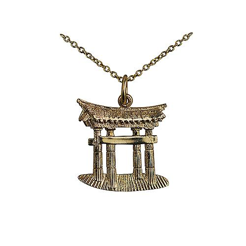 9ct Gold 20x18mm Torii Gate Pendant with a cable Chain 16 inches Only Suitable for Children