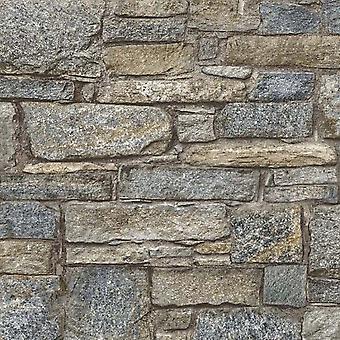 Chalet Stone Pastel Wallpaper Brick Effect Non Woven Textured Vinyl Grandeco Life