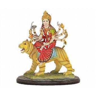 Harz-Hindu-Gottesfigur - Mataji sitzen auf Tiger 30cm