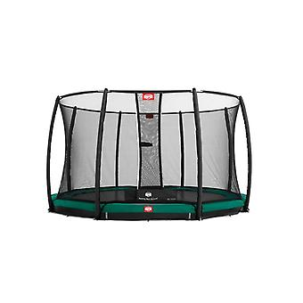 BERG InGround Champion 430 14ft Trampoline+ Safety Net Deluxe Green