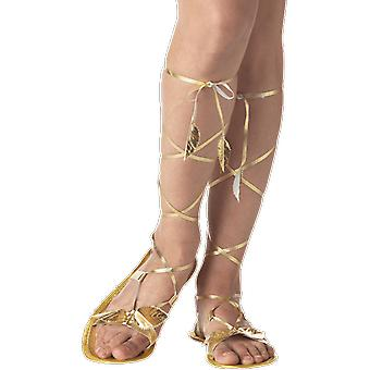 Womens Gold Goddess Sandals Roman Toga Fancy Dress Costume Accessory