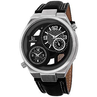 Joshua & Sons JS83SS Swiss Quartz Dual Time  Leather Strap Watch