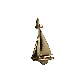 9ct Gold 25x15mm Yacht Pendant or Charm