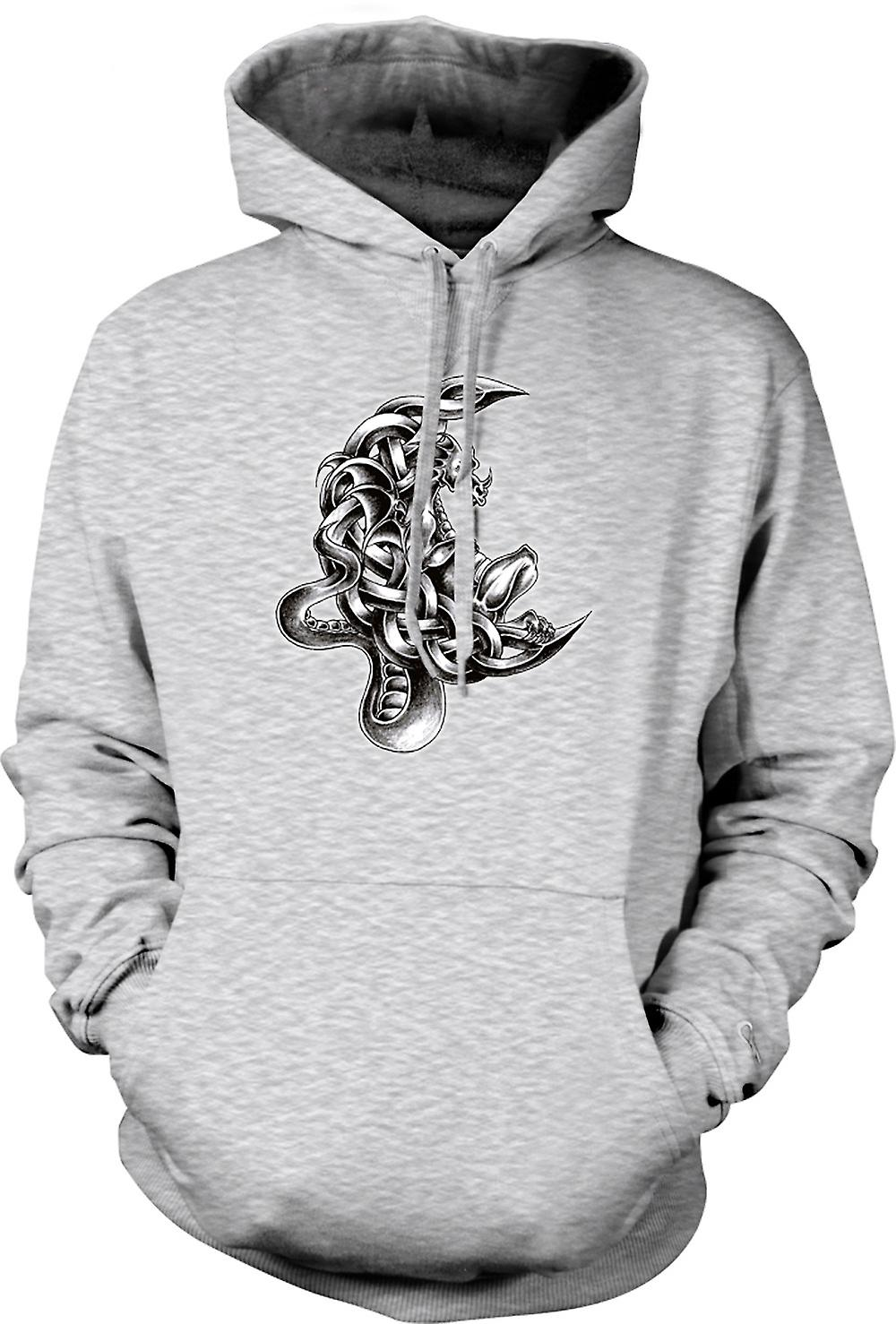 Mens Hoodie - Dragon Tattoo - Design Sketch