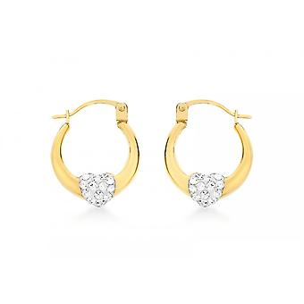 Eternity 9ct Gold Small Crystal Set Heart Creole Hoop Earrings