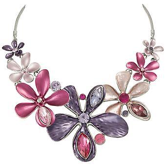 Collar de declaración de eterna colección Bouquet púrpura esmalte Multi plata cristal tono
