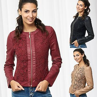 Womens Leather Jacket with Floral Lace Round Collar Leather Optics Biker Vest