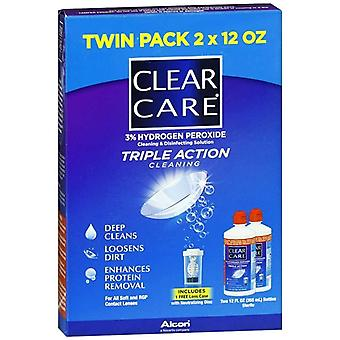 Clear care triple action cleaning & disinfecting solution, 24 oz