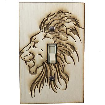 Lion switch plate - raw wood - 3.1