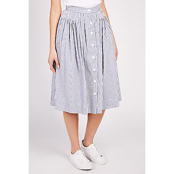 Louche Tanish Striped Button Front Skirt Blue/White