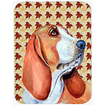 Basset Hound Fall Leaves Portrait Glass Cutting Board Large