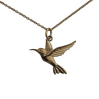 9ct Gold 24x22mm Hummingbird Pendant with a cable Chain 20 inches