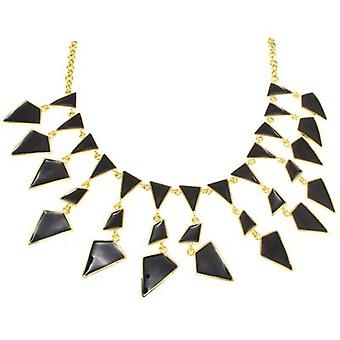 Kenneth Jay Lane Gold Plated & Black Enamel Geometric Drop Necklace