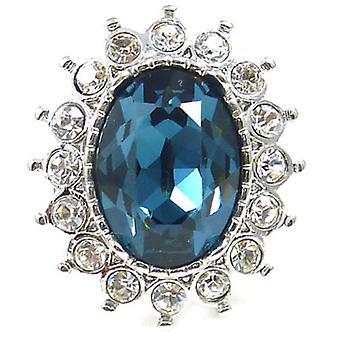 Kenneth Jay Lane grande cristallo & zaffiro anello ovale