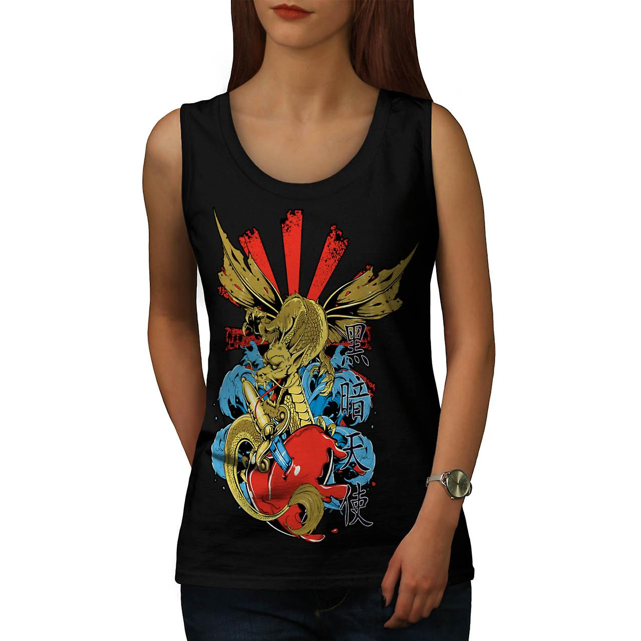 Monster Dragon Heart Love Hurts Women Black Tank Top | Wellcoda