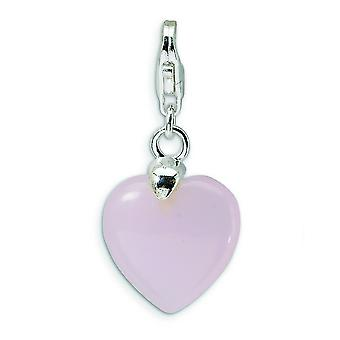 Sterling Silver Rose Quartz Heart With Lobster Clasp Charm - Measures 28x13mm