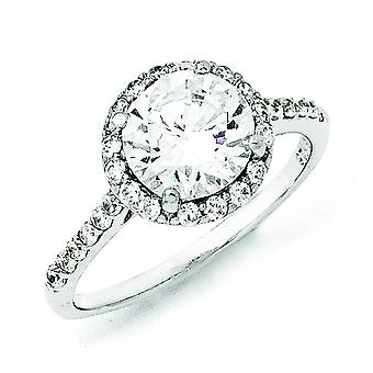 Sterling Silver CZ Round Ring - Ring Size: 6 to 8