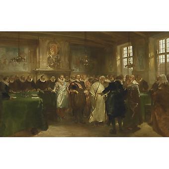 Принц Maurits получает российскую делегацию в 1614 году Чарльз Rochussen 1874 голландской живописи маслом на холсте Плакат Печать