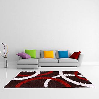 Retro Curve Rugs In Chocolate Red