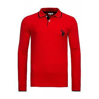 U.S. POLO ASSN. Shirt Sweatshirt mens Polo long sleeve shirt red 51887 155