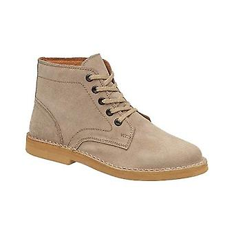 Amblers 87002 Mens Desert Boots Taupe Textile Leather Rubber Lace Up Fastening