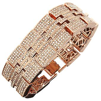 Iced out bling hip hop bracelet wristband - MILLIONAIRE rose