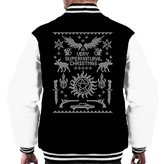 A Very Supernatural Christmas Knit Men's Varsity Jacket