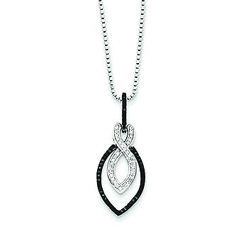 Sterling Silver Gift Boxed Spring Ring Rhodium-plated Black and White Diamond Pendant - .25 dwt